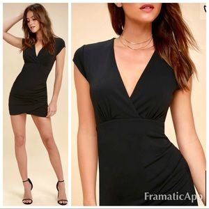 Lulus Hollywood ending ruched body con black dress